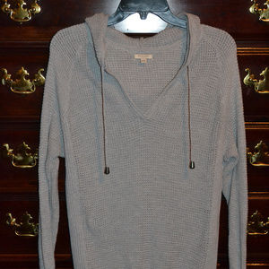 Sonoma Gray Waffle Hooded Sweater, Size XL